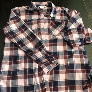Old Navy Button Down Pink and Purple Plaid L